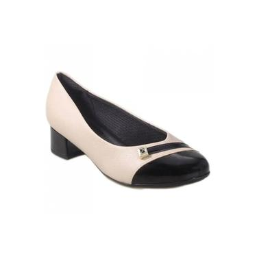 Sapato Salto Baixo Piccadilly Marfim/Preto Feminino 141094