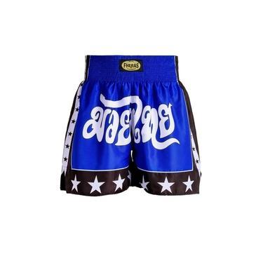 Shorts Boxe Muay Thai Fheras Training New Estrela Azul