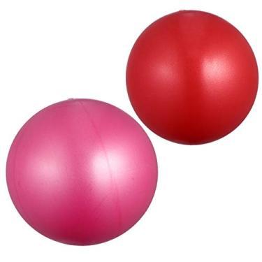 Bola de exercícios de ioga BesPORTBLE, 2 peças, bola antiderrapante inflável para exercícios em casa, academia, equilíbrio, pilates 15-35 cm (vermelho + rosa)