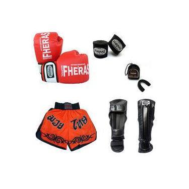 Kit Boxe Muay Thai Luva Bandagem Bucal Caneleira Shorts 12oz