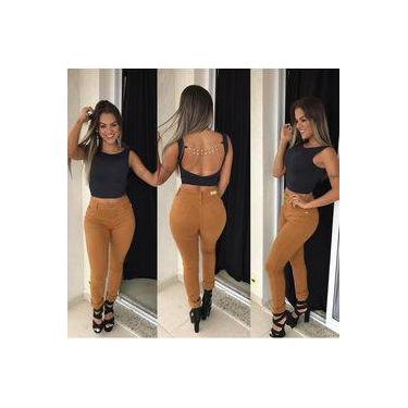 Calça Jeans Cintura Alta Com Lycra Caramelo