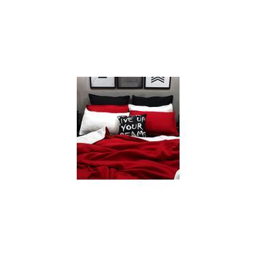 Imagem de Jogo de cama casal king 9 peças tricolor com cobertor soft