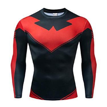 Imagem de Camisa de manga comprida Uyebros Superhero Camisa de compressão esportiva camiseta de corrida fantasia de cosplay, N-wing Red, XX-Large
