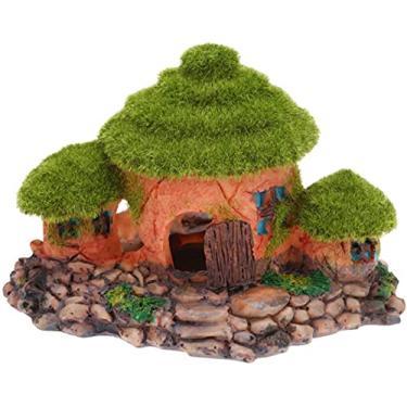 Imagem de Esconderijo de casa de decorações de aquário - Pedra do tanque de peixes que esconde a caverna ornamento de decoração de paisagem