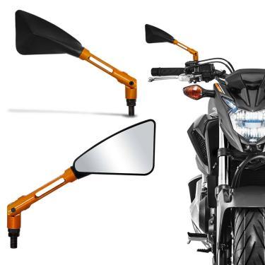 Retrovisor Moto Esportivo Similar Rizoma Tomok Honda Preto Haste Alumínio Dourado Par