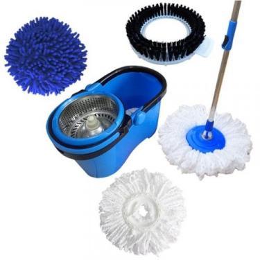 Balde Perfect Mop Pro 360 Inox Com 3 Refis Azul