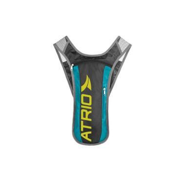 Mochila de Hidratação Sprint Alças Ajustáveis Material em Poliéster e PVC Cinza/Azul Atrio Reservatório para Água de 1,5L - BI052 Atrio