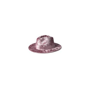 Panamá de Veludo Dourado Chapéu Feminino Rosa Cor Sólida Fedoras Cap Senhoras Chapéu de Feltro Brilhante Mulheres Chapéu de Jazz