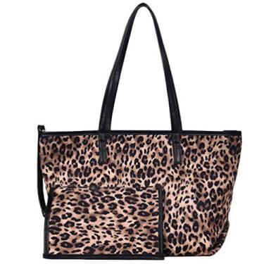 VALICLUD 1 bolsa tote com estampa de leopardo, bolsa mensageiro de grande capacidade, bolsa de ombro, Caqui, 44x16x30cm