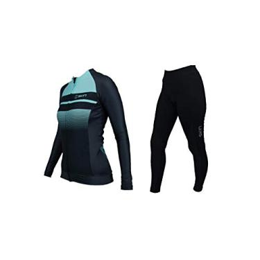 Camisa Feminina Ciclismo Oggi Skin Manga Longa Woom Supreme (Preto Azul Skin, G)