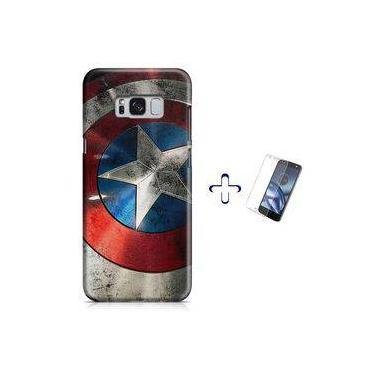 Kit Capa Case Tpu Galaxy S8+ Capitão América Avengers Vingadores + Pel Vidro (bd01)