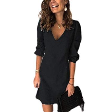UUYUK Vestido feminino plus size cor lisa gola V solto jeans moderno vestido curto, Preto, X-Large