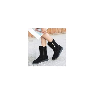 Botas lisas de strass feminino com tubo médio de camurça Martin Botas Botas Botas com zíper