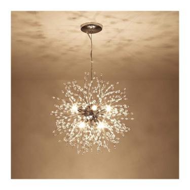 VELIHOME Lustres de cristal dente-de-leão, lustre moderno e criativo de dente-de-leão, luminária suspensa redonda moderna para sala de jantar, quarto, cozinha, ilha, sala de estar