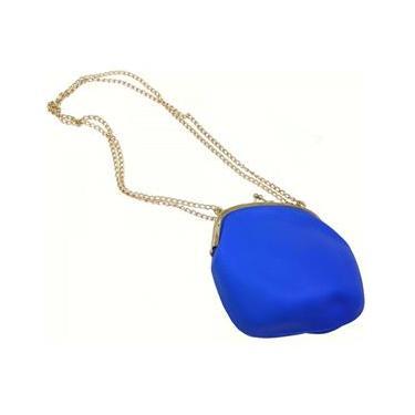 Bolsa De Silicone Vintage Azul Com Dourado Tiracolo