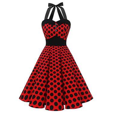 Vestidos de formatura Dressystar vintage com bolinhas retrô para coquetel 50 anos 60 rockabilly Bandage, D-red Black Dot, XX-Large