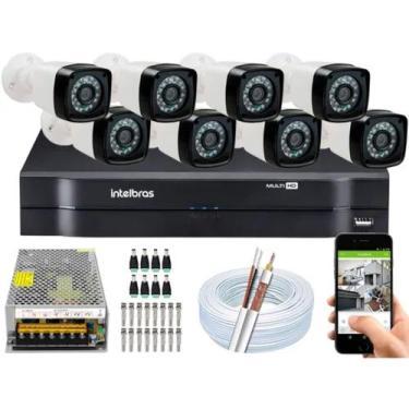 Imagem de Kit Cftv 8 Camera De Segurança Infravermelho Hd Dvr Intelbras Mhdx Ful