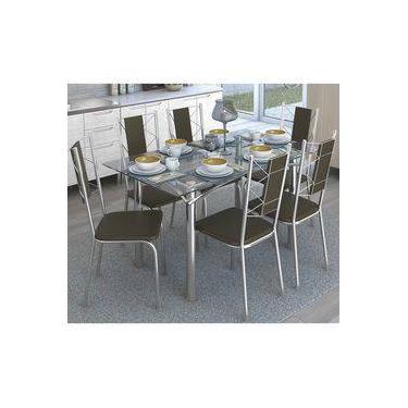 Jogo De Mesa Retangular 6 Cadeiras Kappesberg Crome Cromado/Marrom