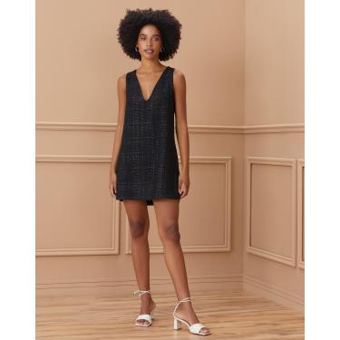 vestido curto tweed decote v Feminino AMARO PRETO GG