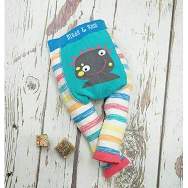 Meia Calça Legging Infantil Monstrinha 0-6 meses, Blade and Rose, Azul