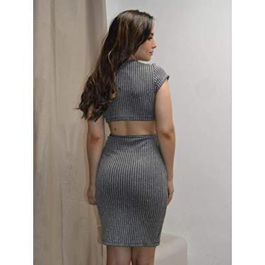 Vestido Limone Modas aberto cintura Prata/M - NUM. 40