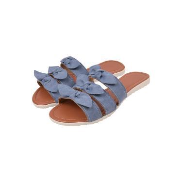 Imagem de Rasteira Feminina Rasteirinha Lacinho Azul bebe Latikas shoes  feminino