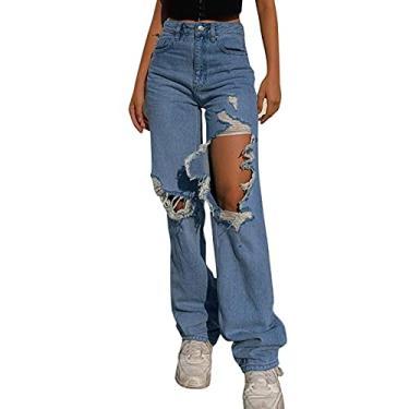 Hulzogul Jeans feminino rasgado Boyfriends Y2K, jeans moderno rasgado de cintura alta, calça reta moderna e confortável