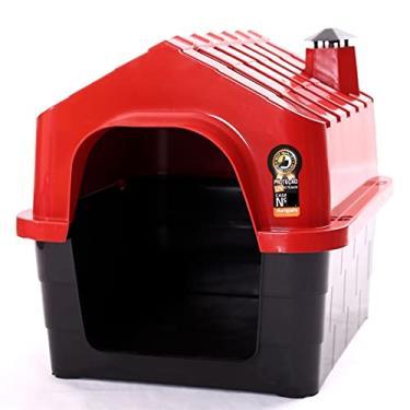 Casa Para Cachorro Casinha Cães Media Plástico N°3 Com Brinde Durapets Cor:Vermelho