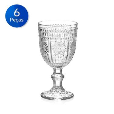 Conjunto 6 Taças de Vidro para Vinho 240 ml Aubusson - Bon Gourmet - Transparente