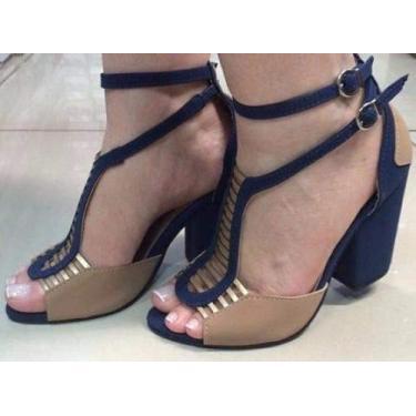 - Sandalia Azul E Creme Com Tiras Douradas Salto Grosso Medio
