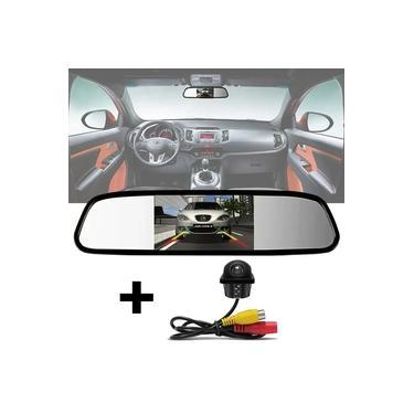 Kit Espelho Retrovisor Monitor Tela LCD 4.3 + Câmera Ré Tartaruga Embutir