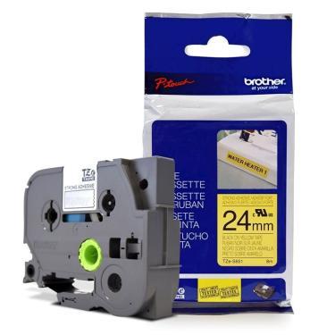 Fita Extra Forte p/ Rotulador Brother TZeS-651 Preto Sobre Amarelo 24mm