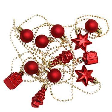 Kisangel Guirlanda de bolas de Natal de plástico faça-você-mesmo corrente de Natal pingente cortina de teto corda de árvore de Natal bolas penduradas para decoração de Natal casamento 3M cor aleatória