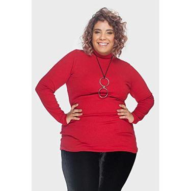 7198ca06519f8 Blusa Malha Canelada Plus Size Vermelho-46