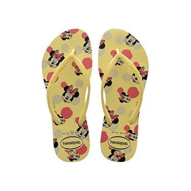 Chinelo Slim Disney, Havaianas, Meninas, Amarelo Limao, 31/32
