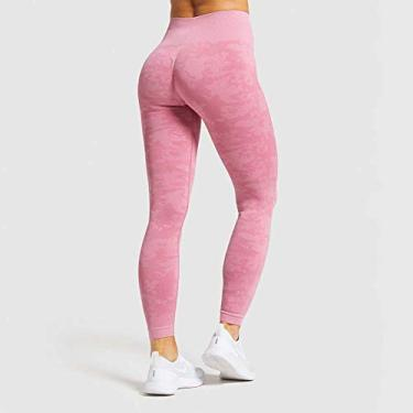 Calça para corrida fitness sem costura Slim Yoga Calça legging feminina cintura alta treino corrida moletom yoga feminina, rosa, G