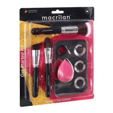 Kit com 3 pincéis para maquiagem, 1 esponja e 1 placa - KP10-1, Macrilan