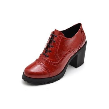 Bota Coturno Feminino Top Franca Shoes Ankle Boot Verniz Vermelho