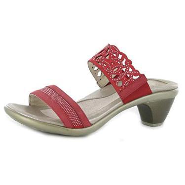 Imagem de Naot Sandália feminina Contempo Footwear, Nobuck vermelho tijolo/vermelho com rebites de bronze, 11