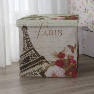 Puff Baú Paris Acasa Móveis Estampado