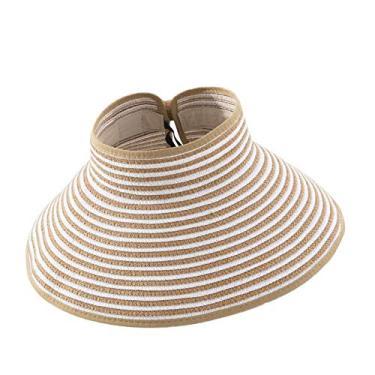 Romacci Chapéu de praia feminino de aba larga com viseira de sol UV FPS 50+, Listras cáqui, tamanho �nico