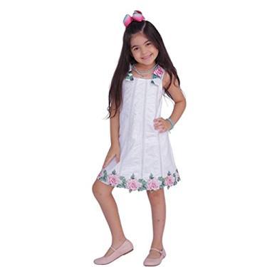 Vestido Infantil com Aplicação de Renda e Entremeio Cor:Branco;Tamanho:2
