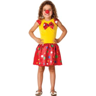 Fantasia de Palhaço Infantil Feminina Vestido e Nariz - P 2 - 4 e06f3d85e91