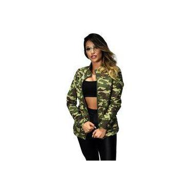 Jaqueta Feminina Dalcomuni Exército Camuflado Verde - Militar