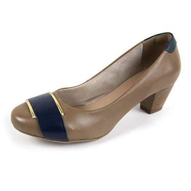Sapato Scarpin Salto Grosso Linha Social Elegance Miuzzi - 3504 - Taupe