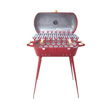 Imagem de Churrasqueira À Bafo De Alumínio Mundial Grande Vermelha Com Pés E Por