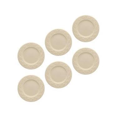 Conjunto de Pratos de Sobremesa Oxford Daily Mendi Marfim em Cerâmica 20 cm – 6 Peças