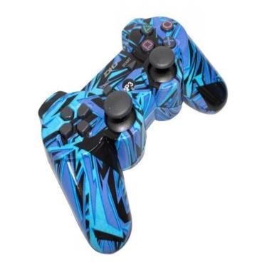 Controle Ps3 Sem Caixa Shock Wireless Raspberry Joystick - Azul Bebe