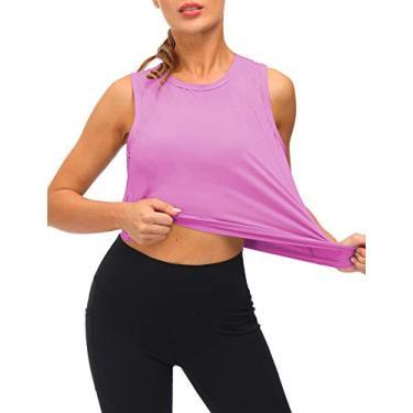 Loovoo Camiseta regata feminina para treino de secagem rápida com corte muscular, solta, sem mangas, para ioga, Rosa, roxo, M