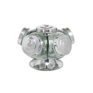 Baleiro giratório de vidro bomboniere 27cm 5 gomos 500ml